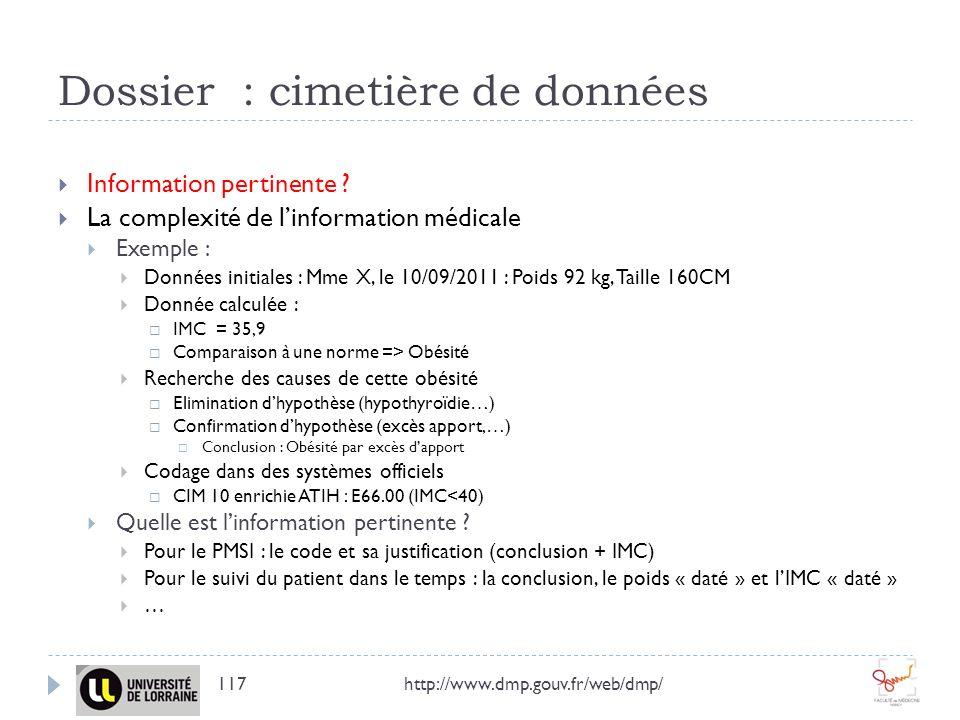 Dossier : cimetière de données http://www.dmp.gouv.fr/web/dmp/117 Information pertinente ? La complexité de linformation médicale Exemple : Données in