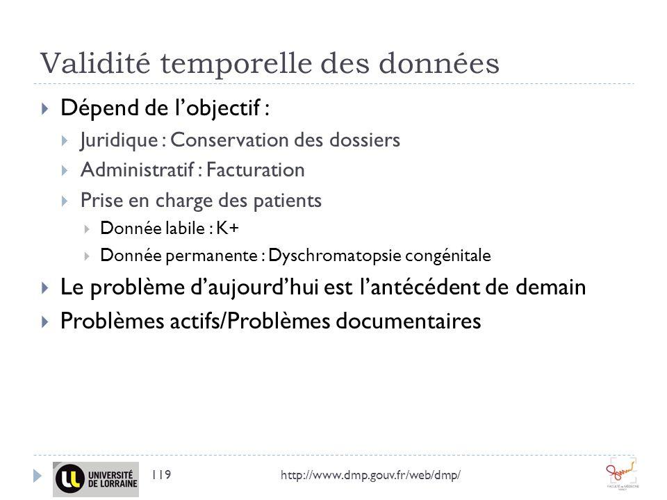 Validité temporelle des données http://www.dmp.gouv.fr/web/dmp/119 Dépend de lobjectif : Juridique : Conservation des dossiers Administratif : Factura