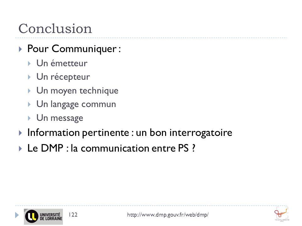 Conclusion Pour Communiquer : Un émetteur Un récepteur Un moyen technique Un langage commun Un message Information pertinente : un bon interrogatoire Le DMP : la communication entre PS .