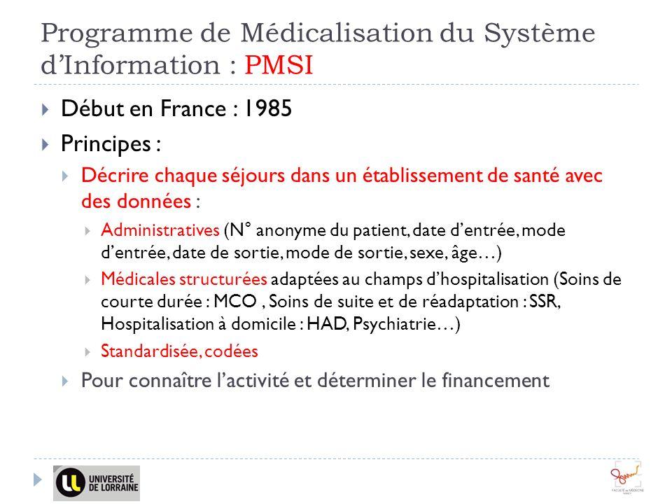 Programme de Médicalisation du Système dInformation : PMSI Début en France : 1985 Principes : Décrire chaque séjours dans un établissement de santé avec des données : Administratives (N° anonyme du patient, date dentrée, mode dentrée, date de sortie, mode de sortie, sexe, âge…) Médicales structurées adaptées au champs dhospitalisation (Soins de courte durée : MCO, Soins de suite et de réadaptation : SSR, Hospitalisation à domicile : HAD, Psychiatrie…) Standardisée, codées Pour connaître lactivité et déterminer le financement