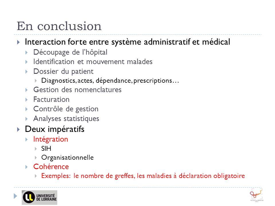 En conclusion Interaction forte entre système administratif et médical Découpage de lhôpital Identification et mouvement malades Dossier du patient Di