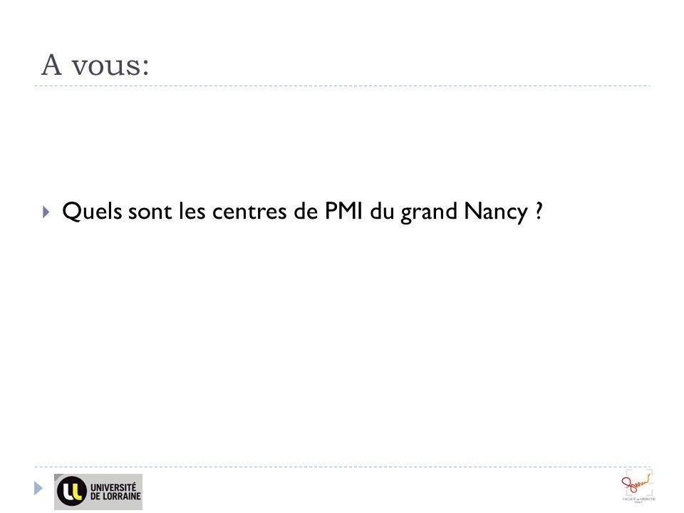A vous: Quels sont les centres de PMI du grand Nancy ?