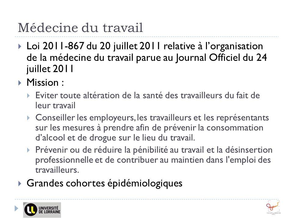 Médecine du travail Loi 2011-867 du 20 juillet 2011 relative à lorganisation de la médecine du travail parue au Journal Officiel du 24 juillet 2011 Mi