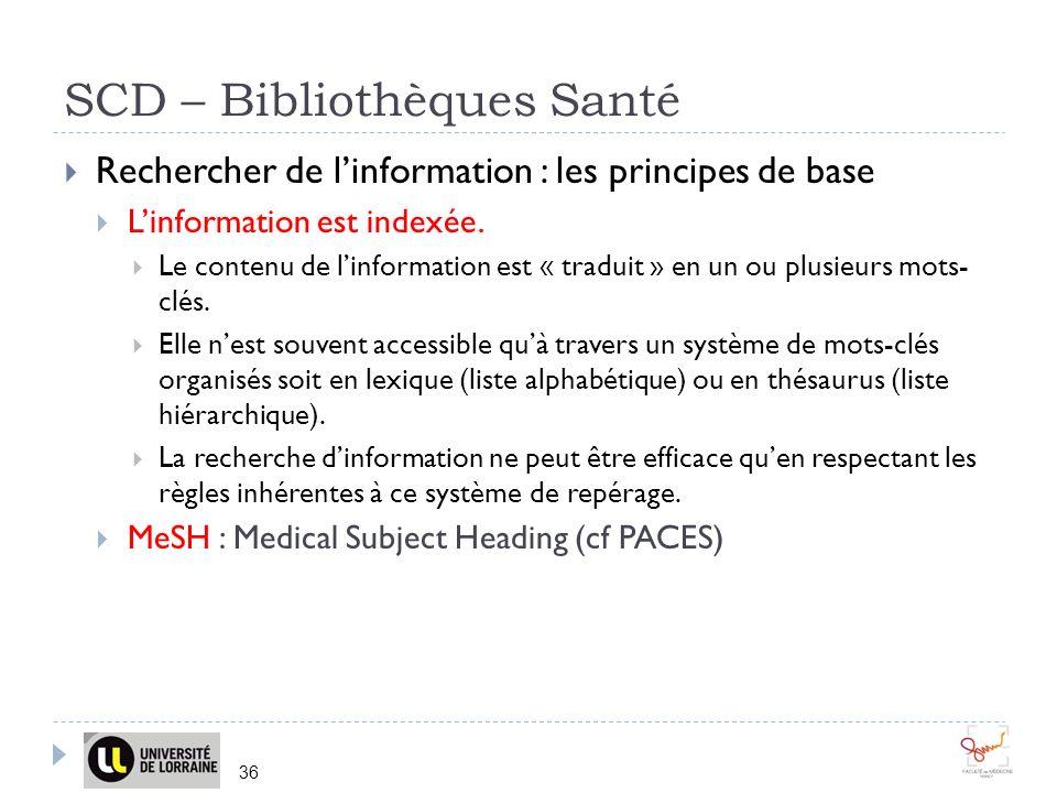 SCD – Bibliothèques Santé 36 Rechercher de linformation : les principes de base Linformation est indexée. Le contenu de linformation est « traduit » e