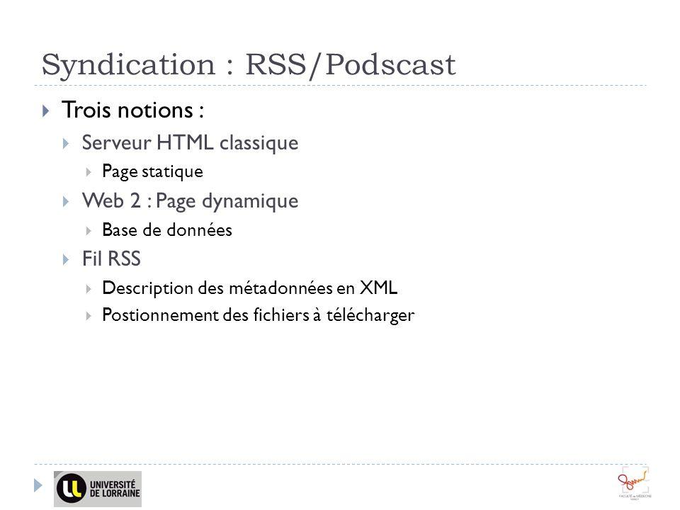 Syndication : RSS/Podscast Trois notions : Serveur HTML classique Page statique Web 2 : Page dynamique Base de données Fil RSS Description des métadonnées en XML Postionnement des fichiers à télécharger