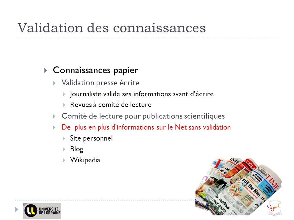 Validation des connaissances Connaissances papier Validation presse écrite Journaliste valide ses informations avant décrire Revues à comité de lectur