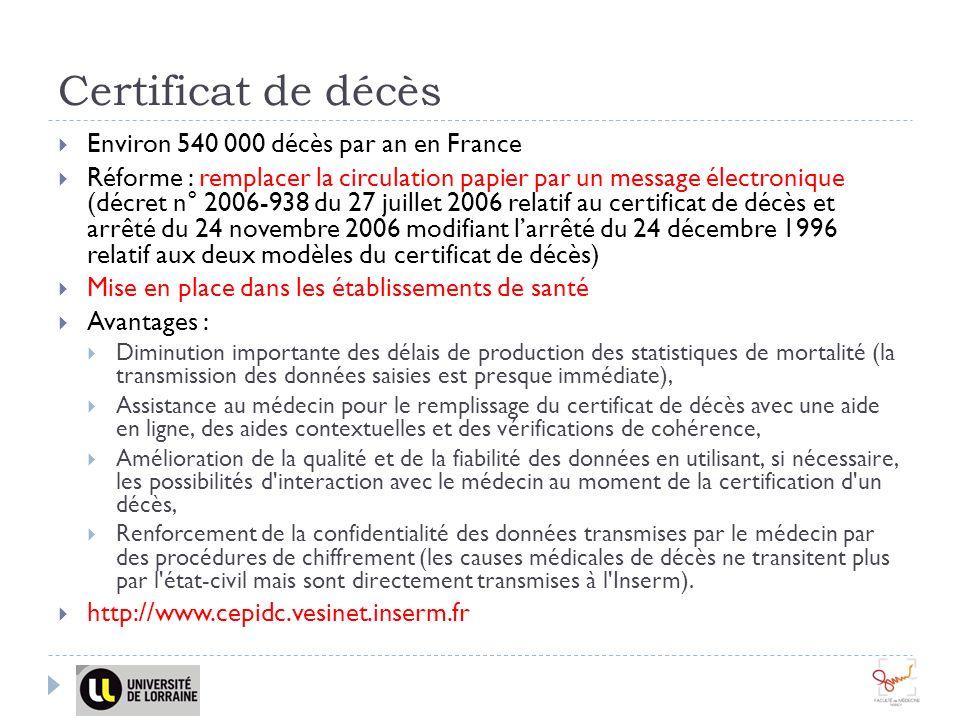 Certificat de décès Environ 540 000 décès par an en France Réforme : remplacer la circulation papier par un message électronique (décret n° 2006-938 d