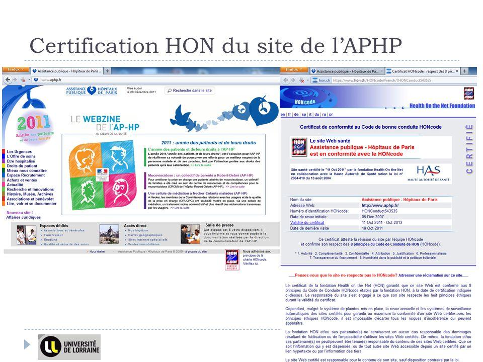 Certification HON du site de lAPHP