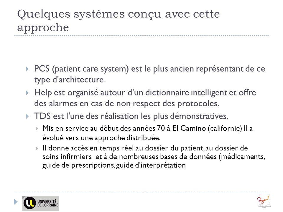 Quelques systèmes conçu avec cette approche PCS (patient care system) est le plus ancien représentant de ce type d'architecture. Help est organisé aut