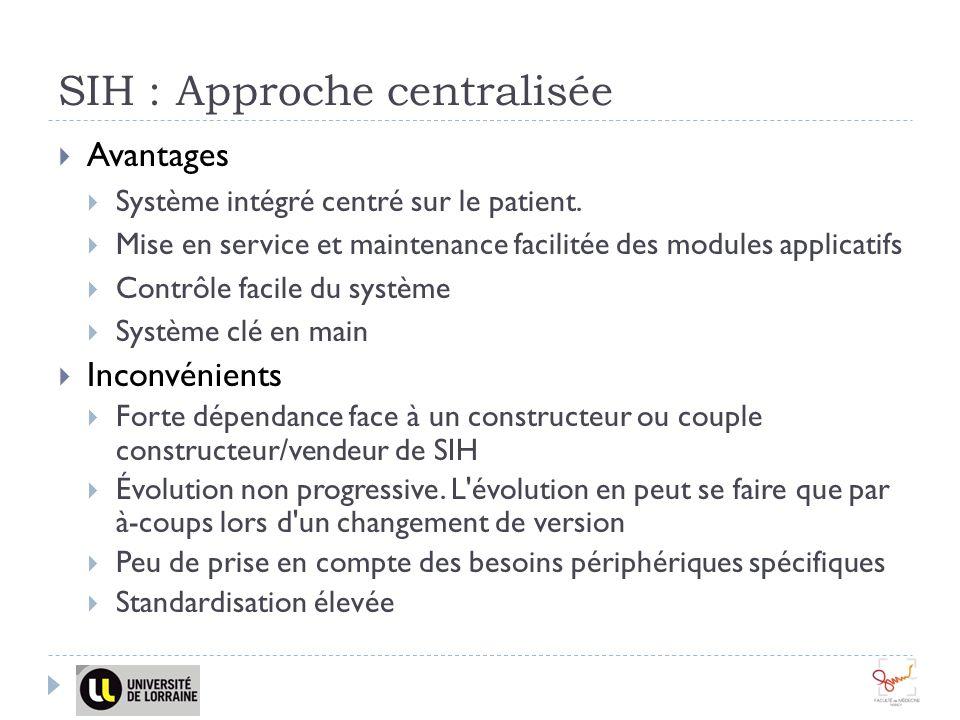 SIH : Approche centralisée Avantages Système intégré centré sur le patient. Mise en service et maintenance facilitée des modules applicatifs Contrôle