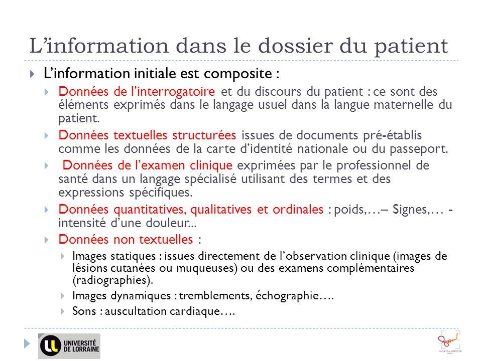 Linformation dans le dossier du patient Linformation initiale est composite : Données de linterrogatoire et du discours du patient : ce sont des éléments exprimés dans le langage usuel dans la langue maternelle du patient.