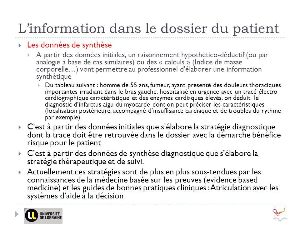 Linformation dans le dossier du patient Les données de synthèse A partir des données initiales, un raisonnement hypothético-déductif (ou par analogie