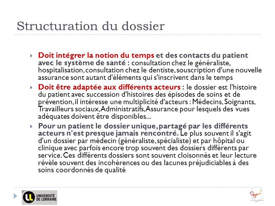 Structuration du dossier Doit intégrer la notion du temps et des contacts du patient avec le système de santé : consultation chez le généraliste, hosp