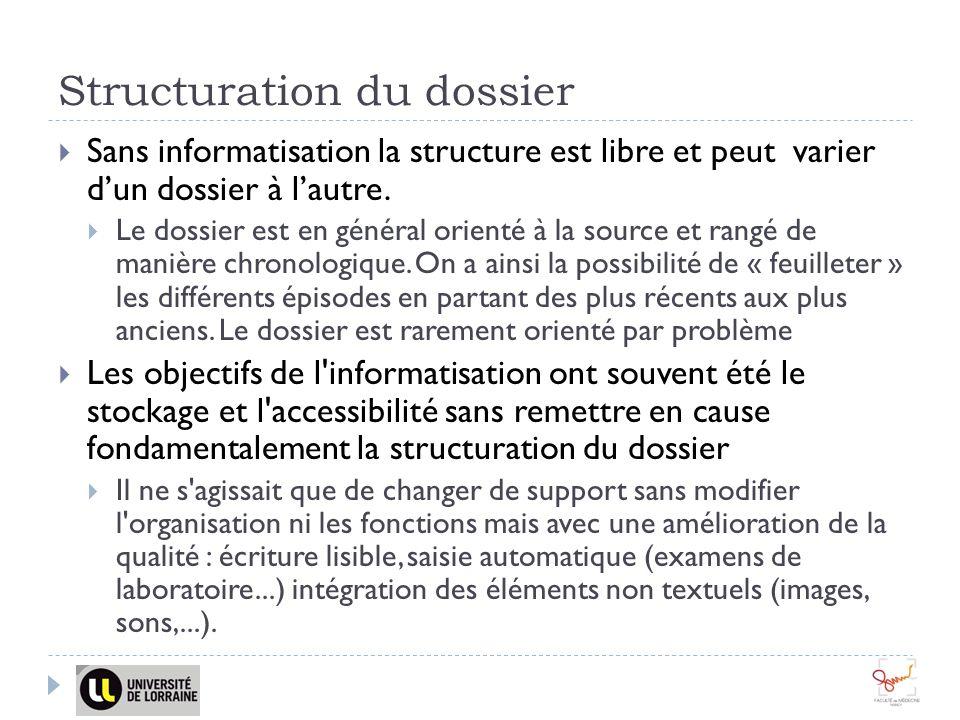 Structuration du dossier Sans informatisation la structure est libre et peut varier dun dossier à lautre. Le dossier est en général orienté à la sourc