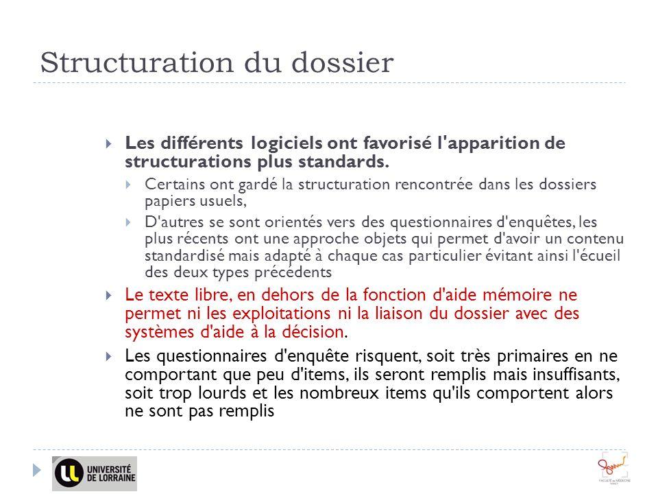 Structuration du dossier Les différents logiciels ont favorisé l apparition de structurations plus standards.