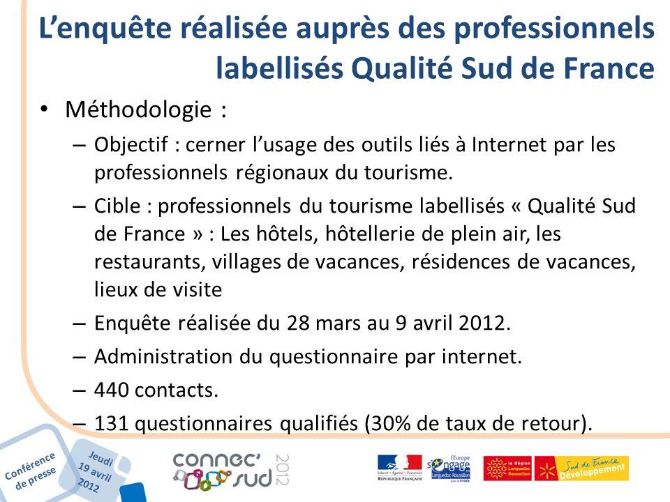 Conférence de presse Jeudi 19 avril 2012 Lenquête réalisée auprès des professionnels labellisés Qualité Sud de France Méthodologie : – Objectif : cern