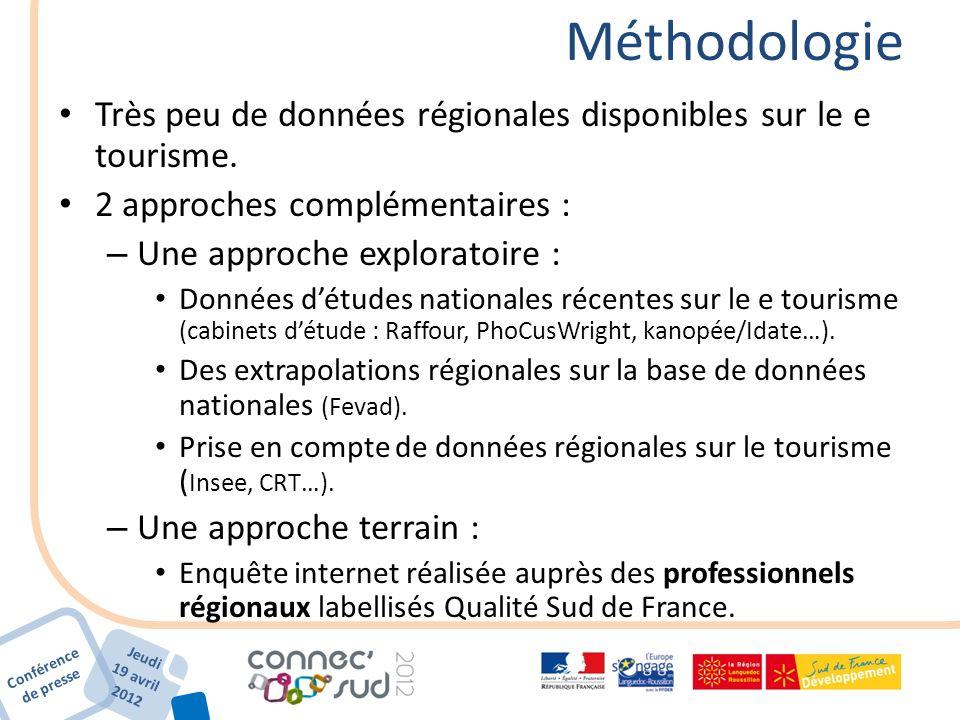 Conférence de presse Jeudi 19 avril 2012 Méthodologie Très peu de données régionales disponibles sur le e tourisme. 2 approches complémentaires : – Un