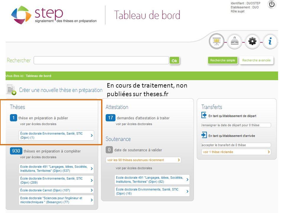 Journées ABES – 20 juin 2012 Traitées, publiées sur theses.fr, pouvant être mises à jour