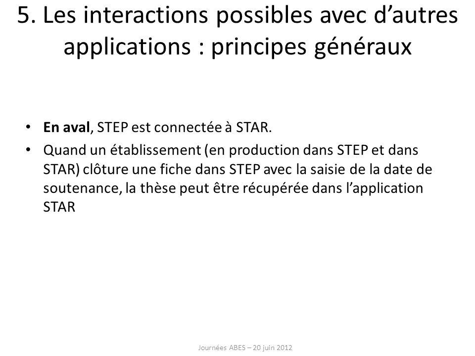 En aval, STEP est connectée à STAR. Quand un établissement (en production dans STEP et dans STAR) clôture une fiche dans STEP avec la saisie de la dat