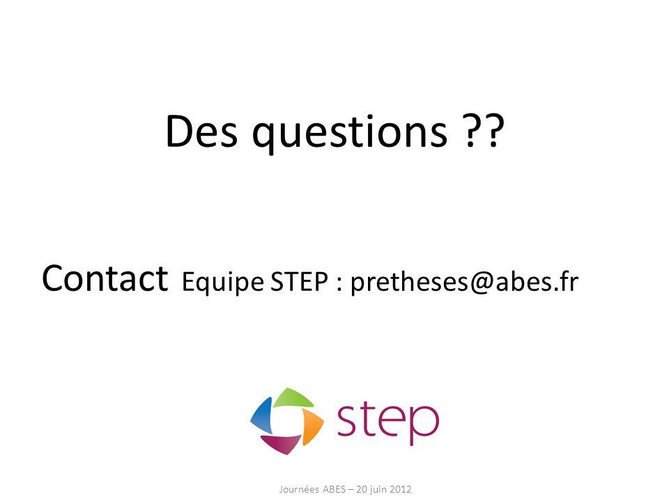 Des questions ?? Contact Equipe STEP : pretheses@abes.fr Journées ABES – 20 juin 2012