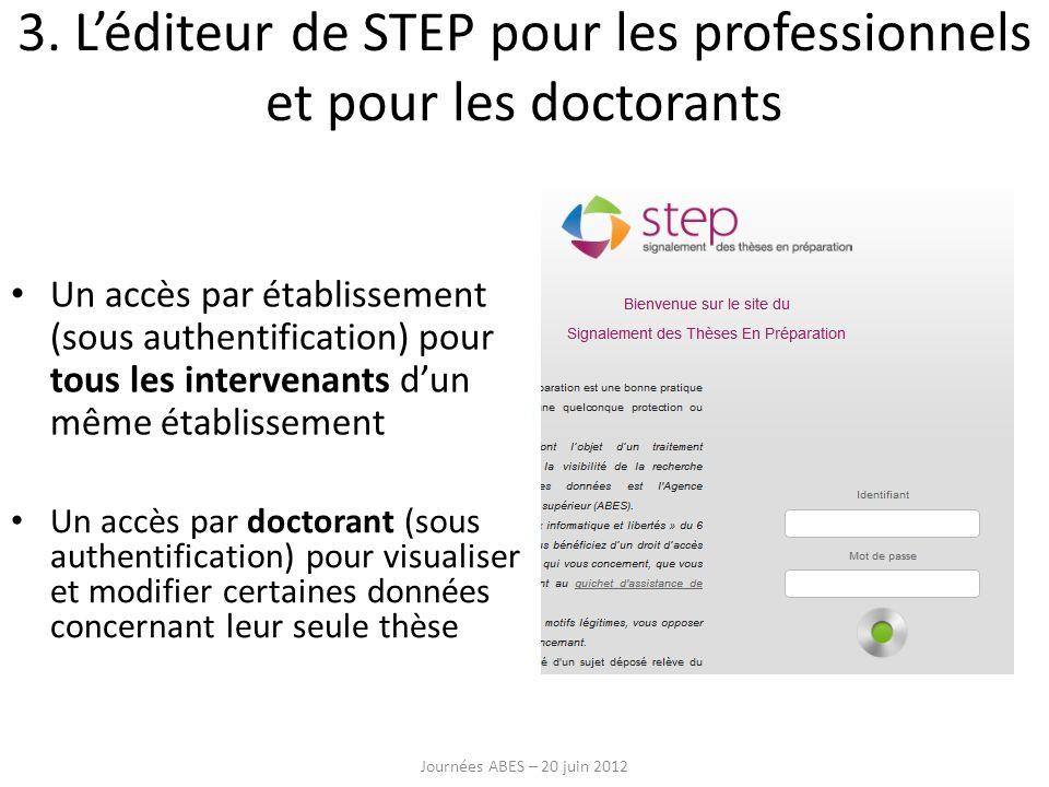 Journées ABES – 20 juin 2012 Un accès par établissement (sous authentification) pour tous les intervenants dun même établissement Un accès par doctora