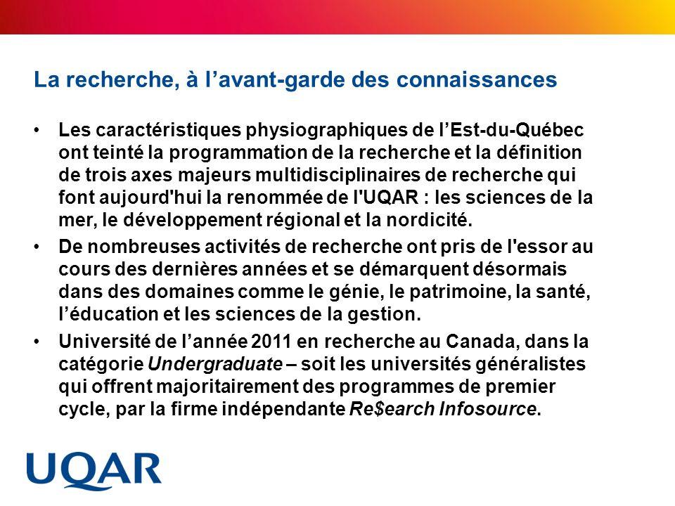 La recherche, à lavant-garde des connaissances Les caractéristiques physiographiques de lEst-du-Québec ont teinté la programmation de la recherche et