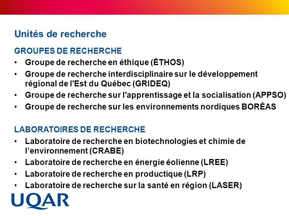 Unités de recherche GROUPES DE RECHERCHE Groupe de recherche en éthique (ÉTHOS) Groupe de recherche interdisciplinaire sur le développement régional d
