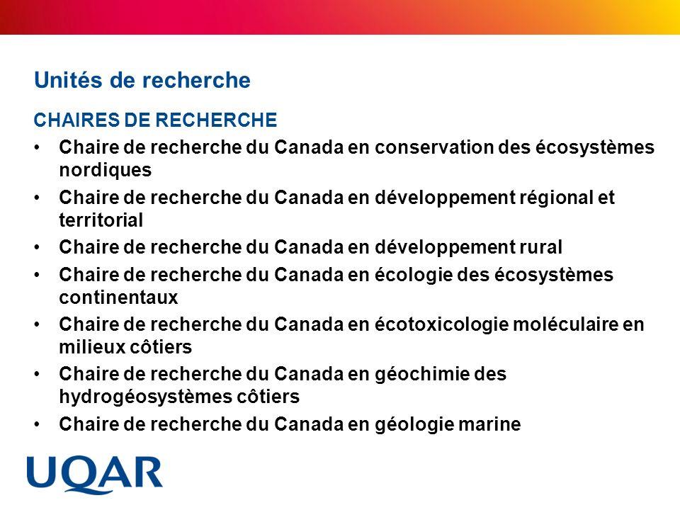 Unités de recherche CHAIRES DE RECHERCHE Chaire de recherche du Canada en conservation des écosystèmes nordiques Chaire de recherche du Canada en déve