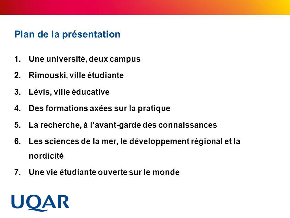 Plan de la présentation 1.Une université, deux campus 2.Rimouski, ville étudiante 3.Lévis, ville éducative 4.Des formations axées sur la pratique 5.La