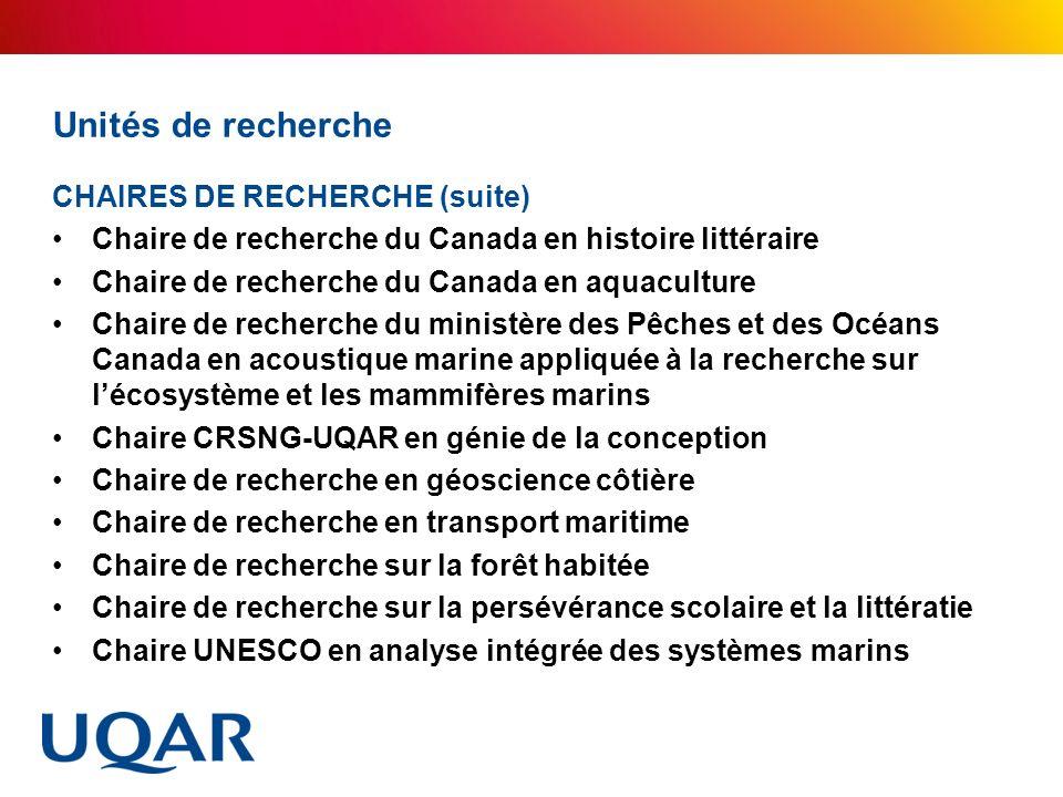 Unités de recherche CHAIRES DE RECHERCHE (suite) Chaire de recherche du Canada en histoire littéraire Chaire de recherche du Canada en aquaculture Cha