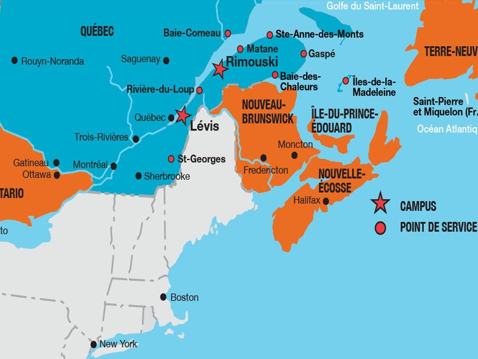 Une université, deux campus Création en 1969 Deux campus situés sur la rive sud du fleuve Saint-Laurent, lun à Rimouski et lautre à Lévis, à deux pas de la ville de Québec.