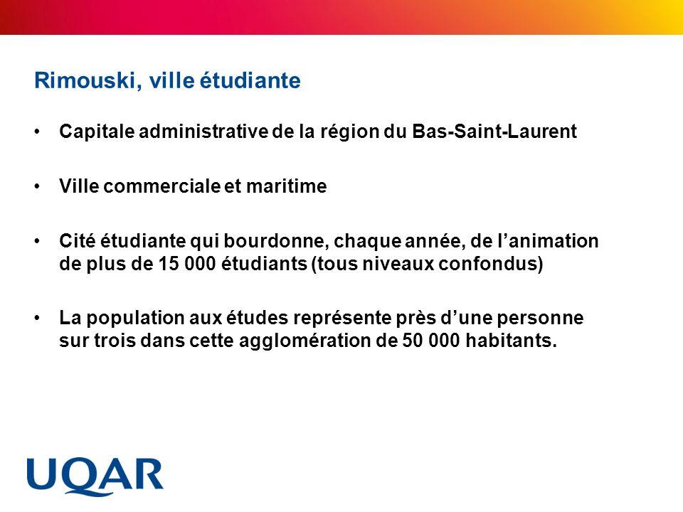 Rimouski, ville étudiante Capitale administrative de la région du Bas-Saint-Laurent Ville commerciale et maritime Cité étudiante qui bourdonne, chaque