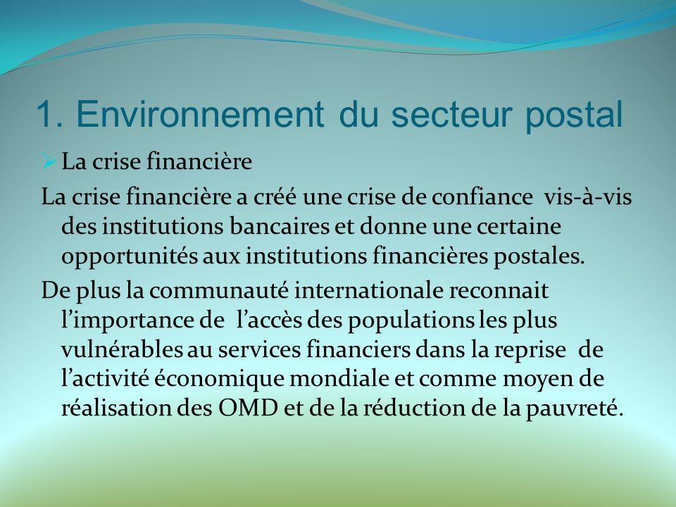 1. Environnement du secteur postal La crise financière La crise financière a créé une crise de confiance vis-à-vis des institutions bancaires et donne