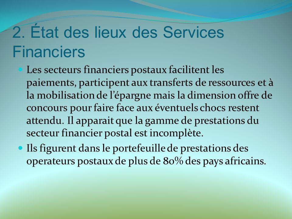 2. État des lieux des Services Financiers Les secteurs financiers postaux facilitent les paiements, participent aux transferts de ressources et à la m