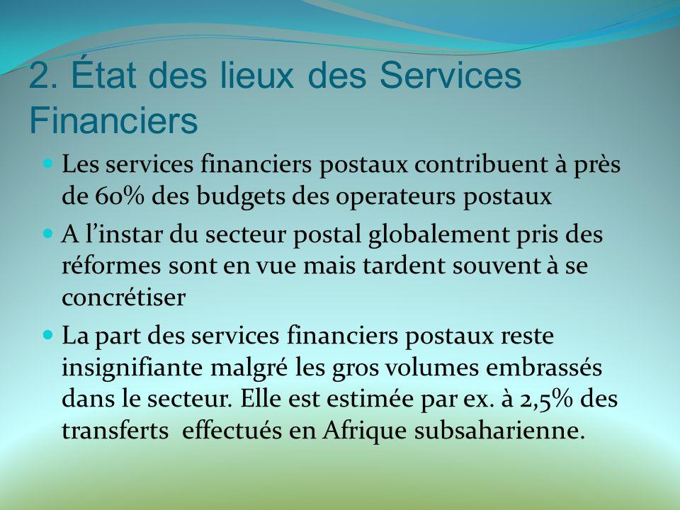 2. État des lieux des Services Financiers Les services financiers postaux contribuent à près de 60% des budgets des operateurs postaux A linstar du se