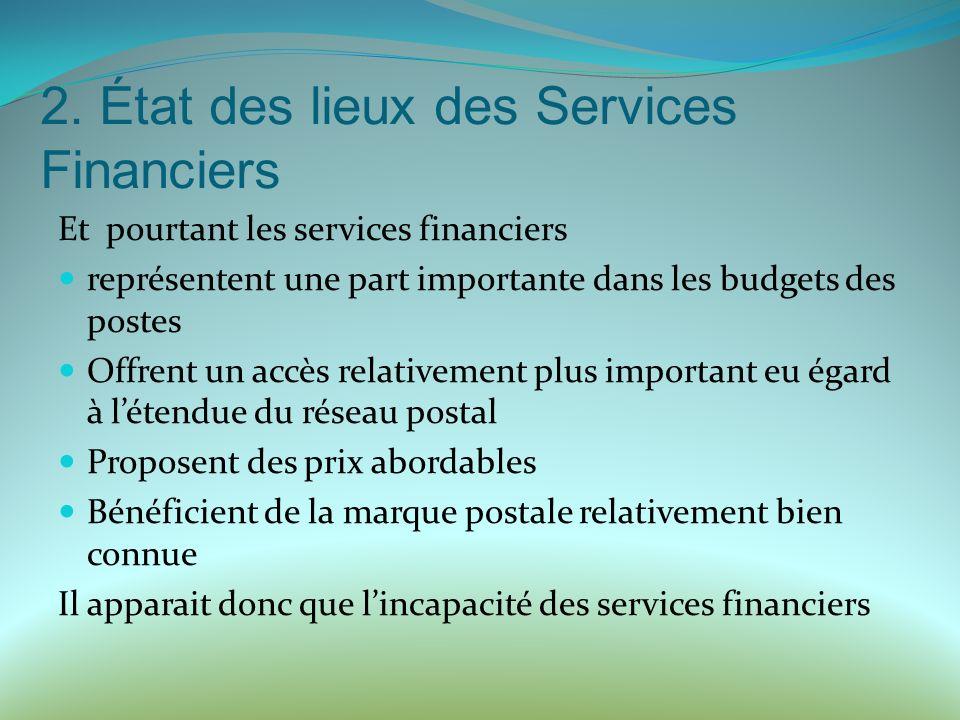 2. État des lieux des Services Financiers Et pourtant les services financiers représentent une part importante dans les budgets des postes Offrent un