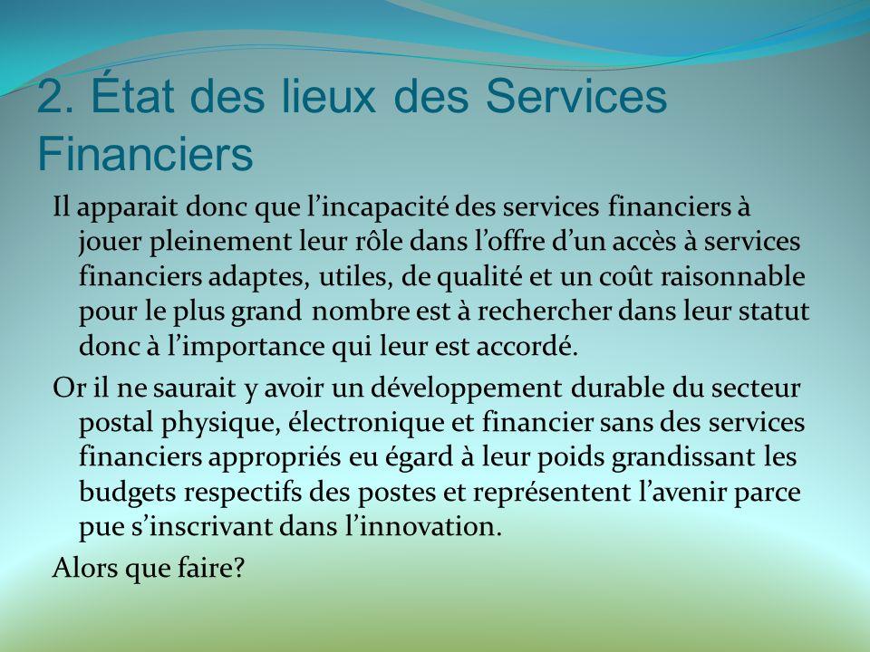 2. État des lieux des Services Financiers Il apparait donc que lincapacité des services financiers à jouer pleinement leur rôle dans loffre dun accès