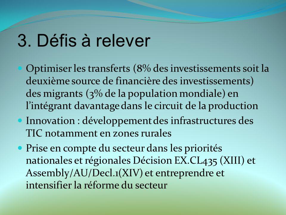 Optimiser les transferts (8% des investissements soit la deuxième source de financière des investissements) des migrants (3% de la population mondiale) en lintégrant davantage dans le circuit de la production Innovation : développement des infrastructures des TIC notamment en zones rurales Prise en compte du secteur dans les priorités nationales et régionales Décision EX.CL435 (XIII) et Assembly/AU/Decl.1(XIV) et entreprendre et intensifier la réforme du secteur 3.