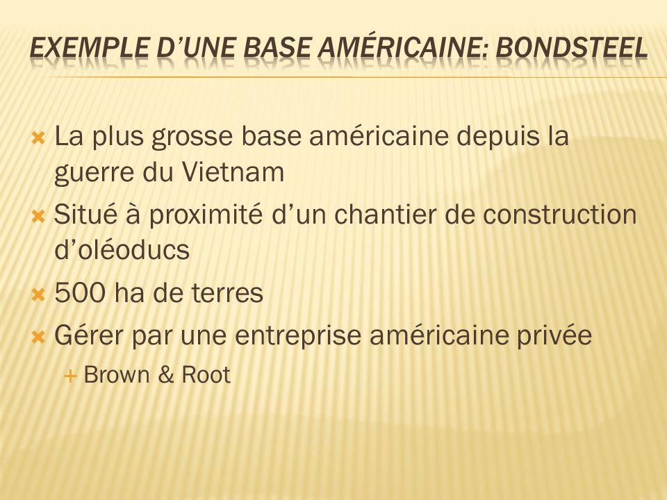 La plus grosse base américaine depuis la guerre du Vietnam Situé à proximité dun chantier de construction doléoducs 500 ha de terres Gérer par une entreprise américaine privée Brown & Root