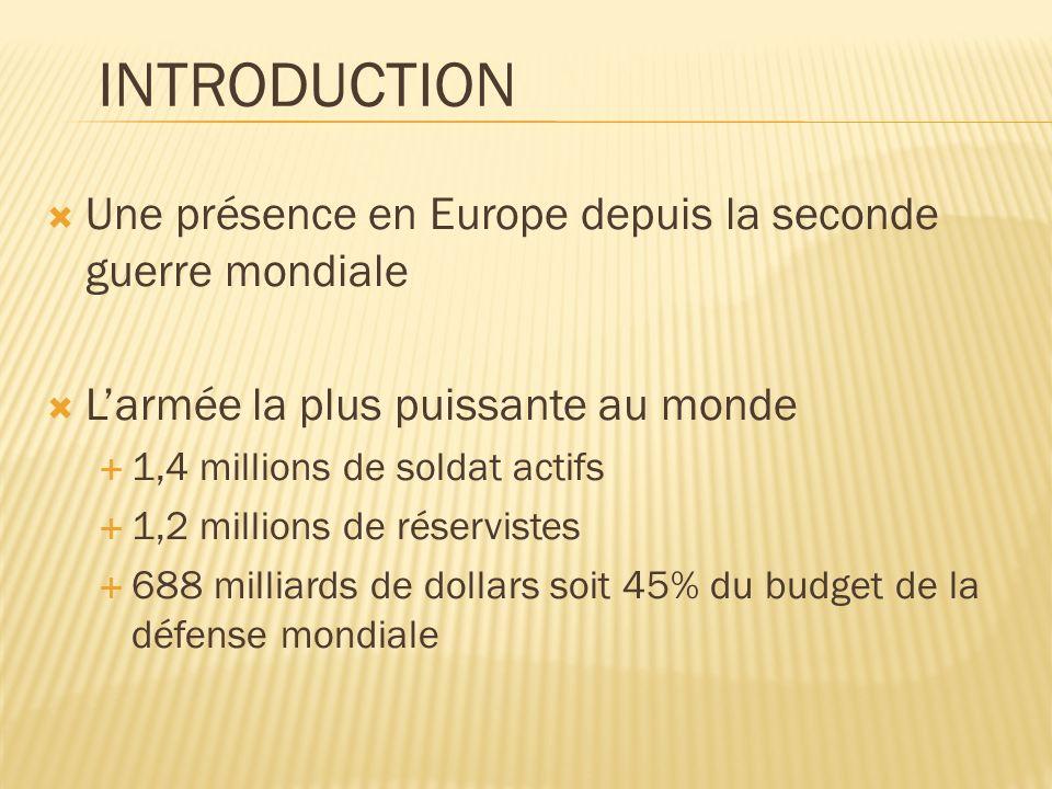 Une présence en Europe depuis la seconde guerre mondiale Larmée la plus puissante au monde 1,4 millions de soldat actifs 1,2 millions de réservistes 688 milliards de dollars soit 45% du budget de la défense mondiale INTRODUCTION