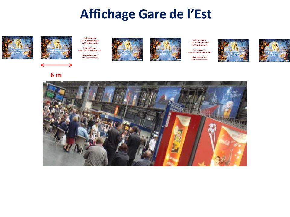 Affichage Gare de lEst Noël en Alsace 100 marchés de Noël 1000 événements Informations : www.tourisme-alsace.com Réservations aux : 036 xxxxxxxxxxxxx Noël en Alsace 100 marchés de Noël 1000 événements Informations : www.tourisme-alsace.com Réservations aux : 036 xxxxxxxxxxxxx 6 m
