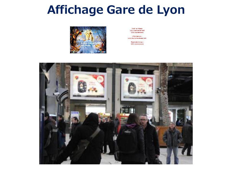 Affichage Gare de Lyon Noël en Alsace 100 marchés de Noël 1000 événements Informations : www.tourisme-alsace.com Réservations aux : 036 xxxxxxxxxxxxx