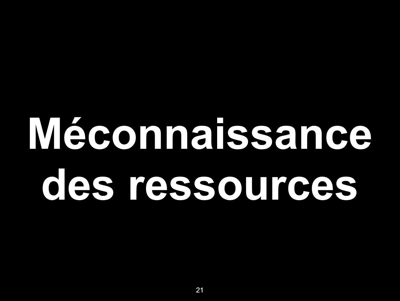 Méconnaissance des ressources 21