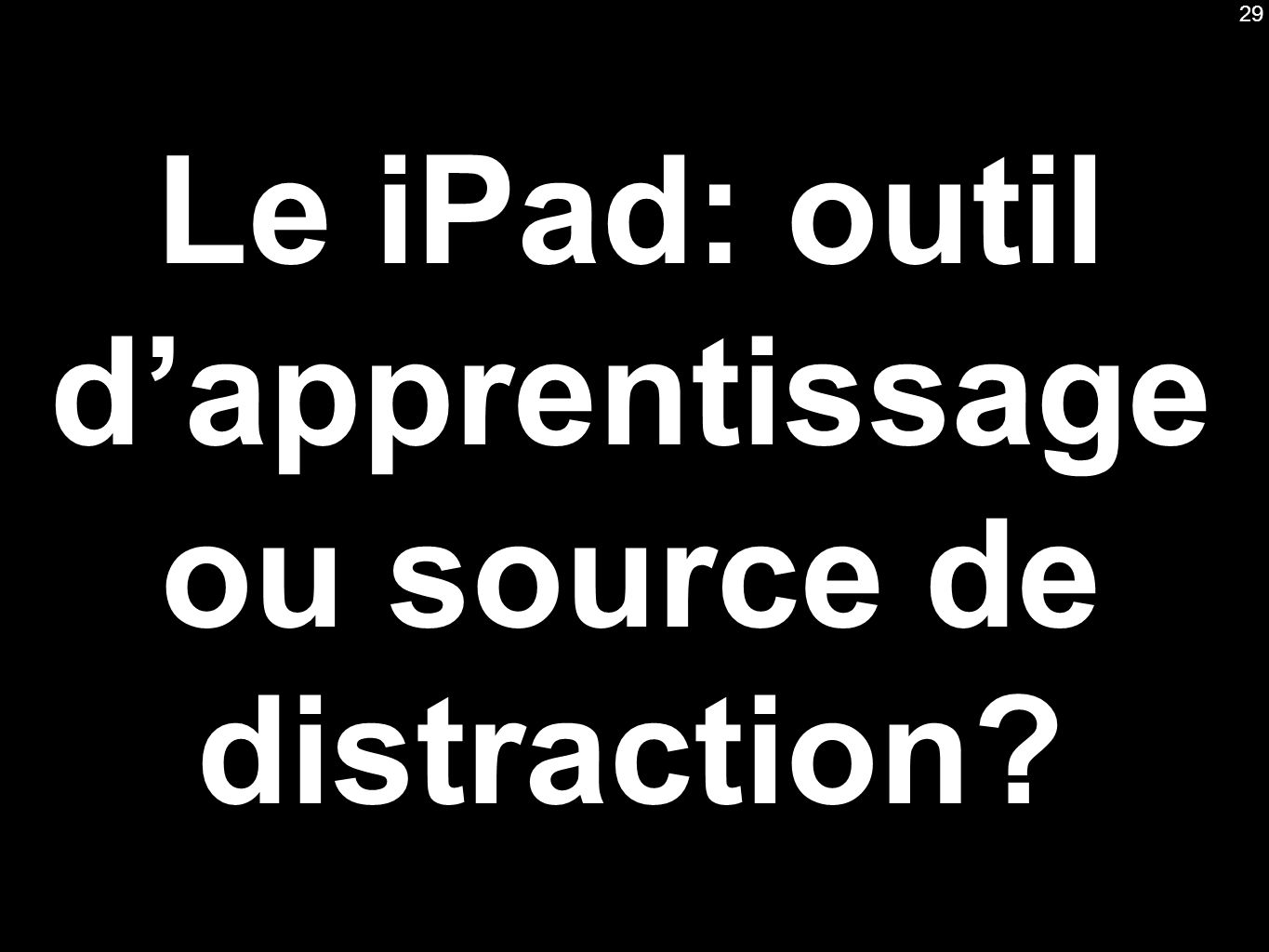 Le iPad: outil dapprentissage ou source de distraction 29