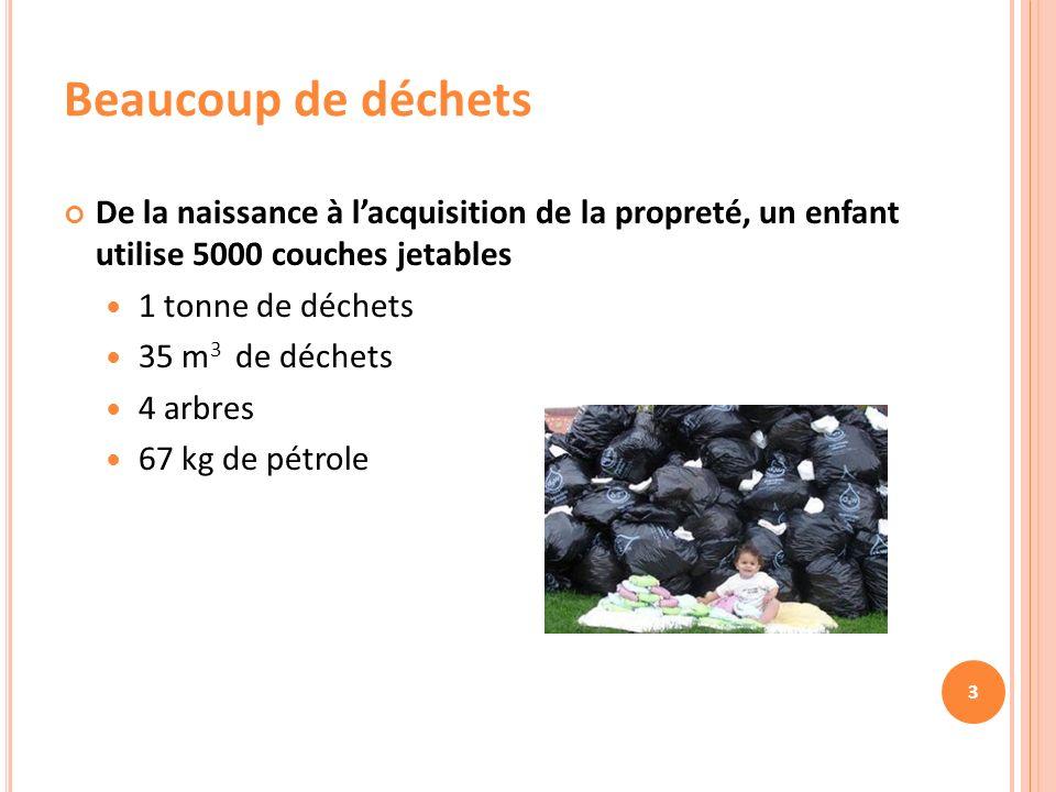 3 Beaucoup de déchets De la naissance à lacquisition de la propreté, un enfant utilise 5000 couches jetables 1 tonne de déchets 35 m 3 de déchets 4 arbres 67 kg de pétrole