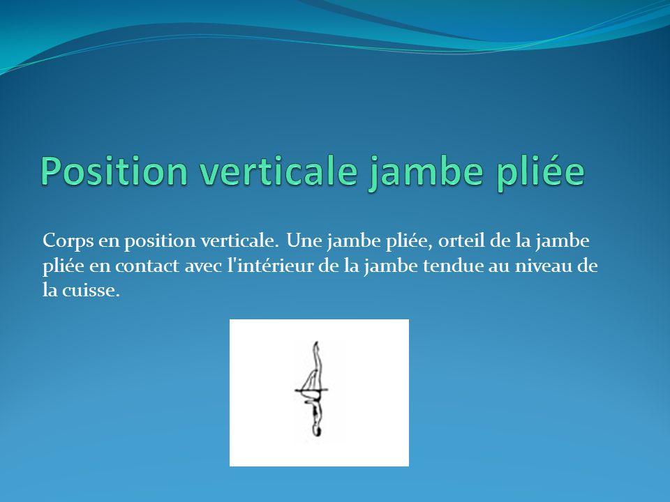 Corps en position verticale. Une jambe pliée, orteil de la jambe pliée en contact avec l'intérieur de la jambe tendue au niveau de la cuisse.