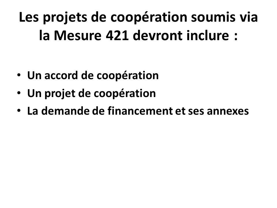 Les projets de coopération soumis via la Mesure 421 devront inclure : Un accord de coopération Un projet de coopération La demande de financement et s