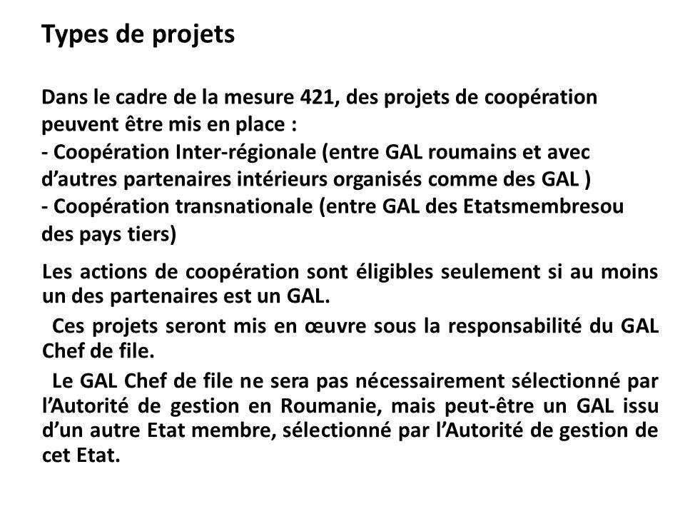 Types de projets Dans le cadre de la mesure 421, des projets de coopération peuvent être mis en place : - Coopération Inter-régionale (entre GAL rouma