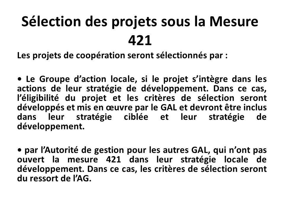 Sélection des projets sous la Mesure 421 Les projets de coopération seront sélectionnés par : Le Groupe daction locale, si le projet sintègre dans les