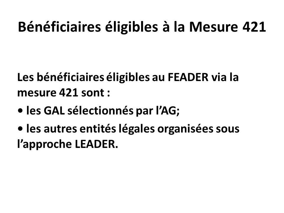 Bénéficiaires éligibles à la Mesure 421 Les bénéficiaires éligibles au FEADER via la mesure 421 sont : les GAL sélectionnés par lAG; les autres entité